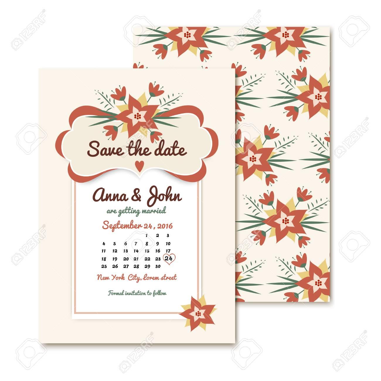 Vintage Hochzeitseinladungen Mit Blumen. Vintage-Karten Für ...