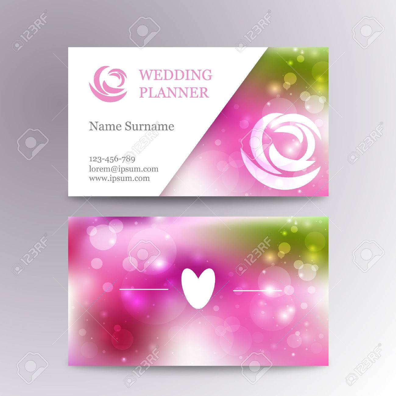 Vector Creative Feminine Business Card Template Mockup With Logo ...