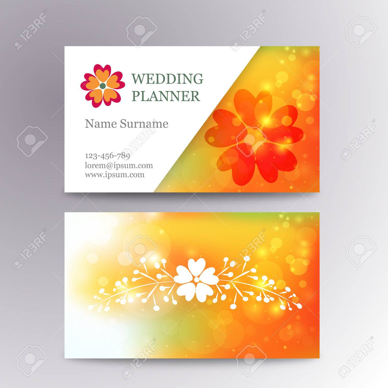 Blurred Business Card Template With Flower. Suitable For Wedding ...