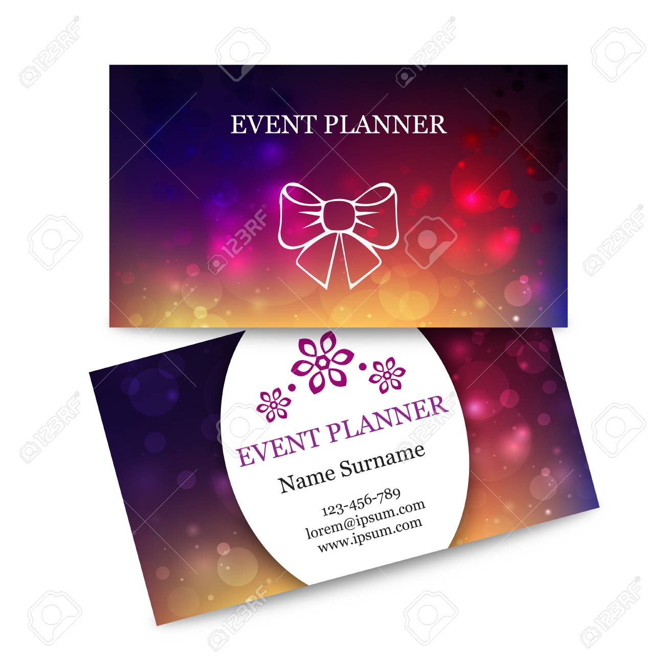 Template colorful business cards for event planner abstract template colorful business cards for event planner abstract magic bokeh background effect blurred light colourmoves