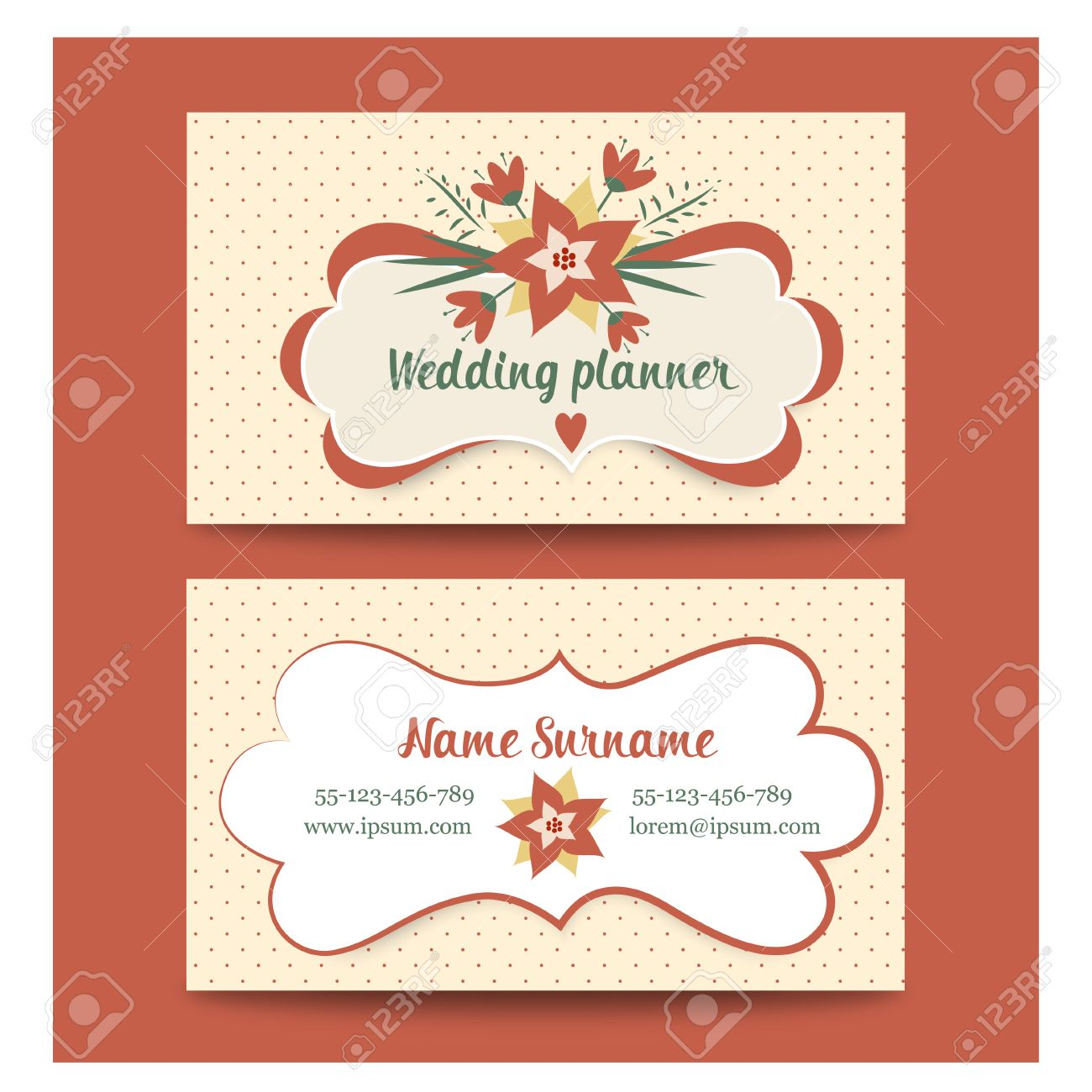 Template Business Cards For Wedding Planner Or Florist. Vintage ...