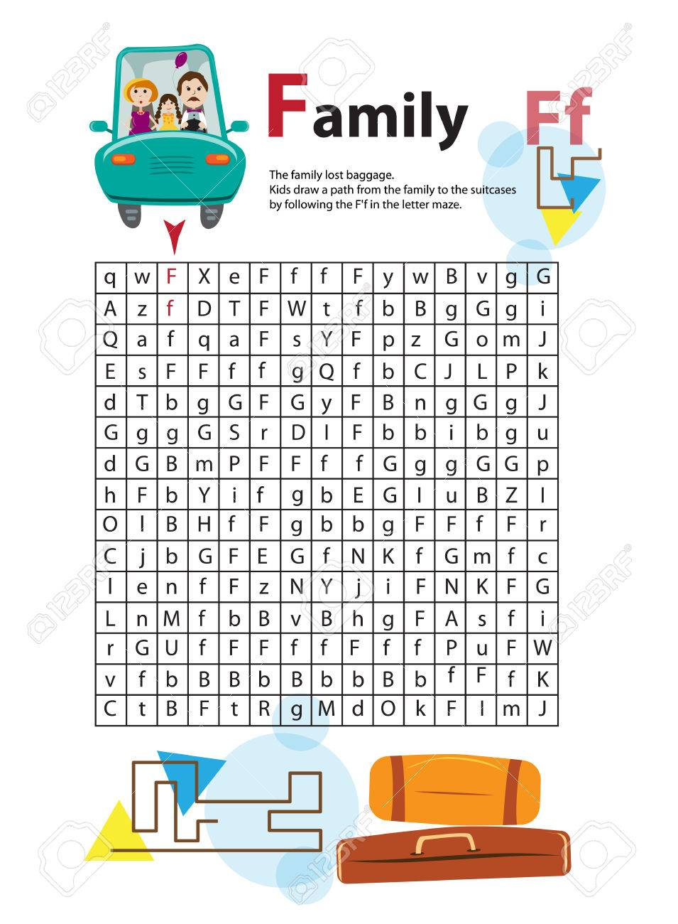 Letter Maze F. This worksheet helps kids recognize and name capital and  lowercase letters.