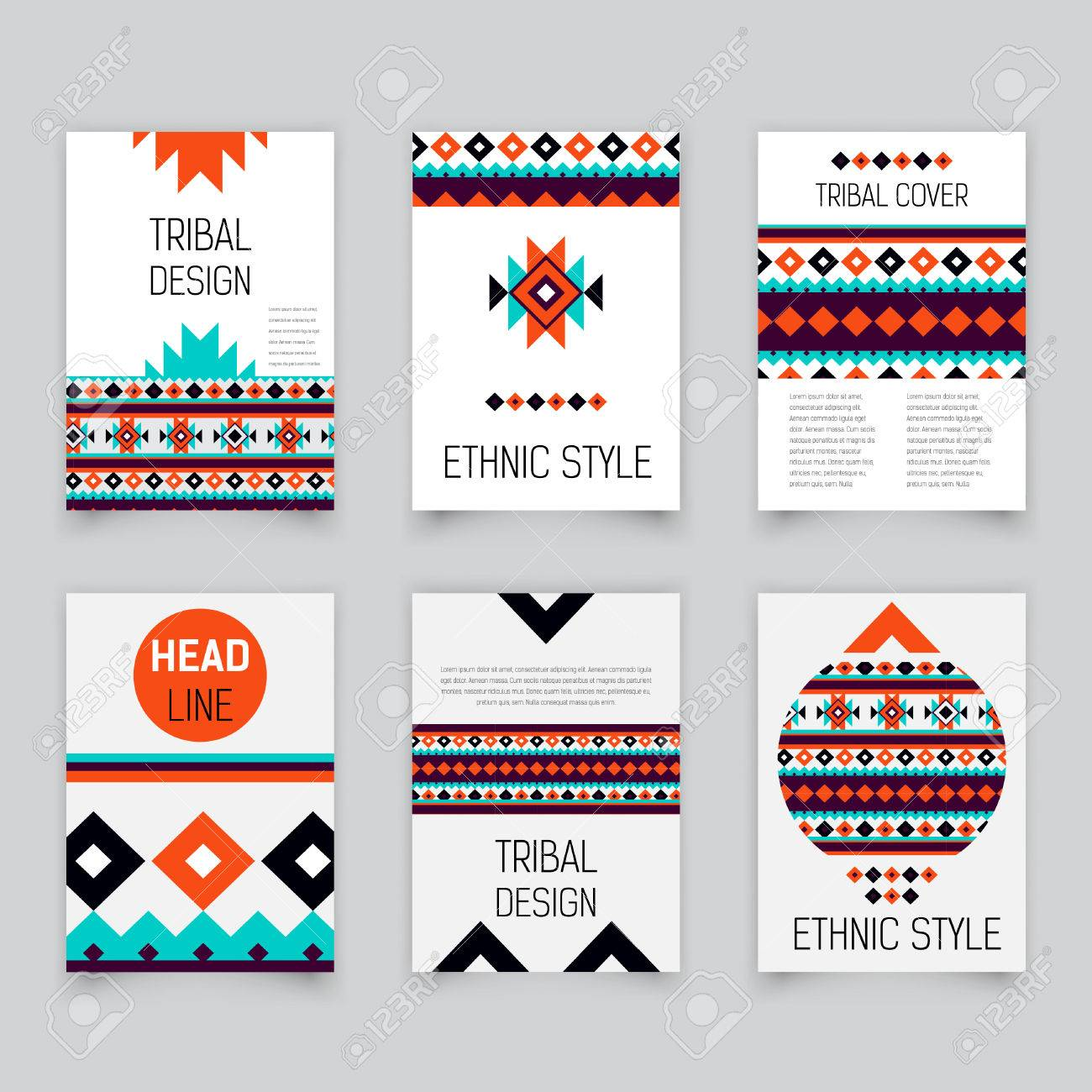 set of geometric tribal colorful brochure templates design elements modern tribal pattern