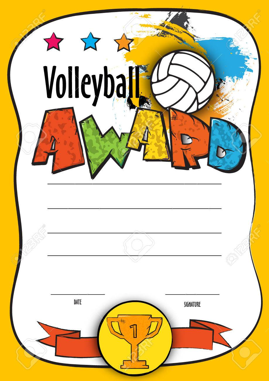 Vector Template Certificate Volleyball Championship. Child Diploma ...