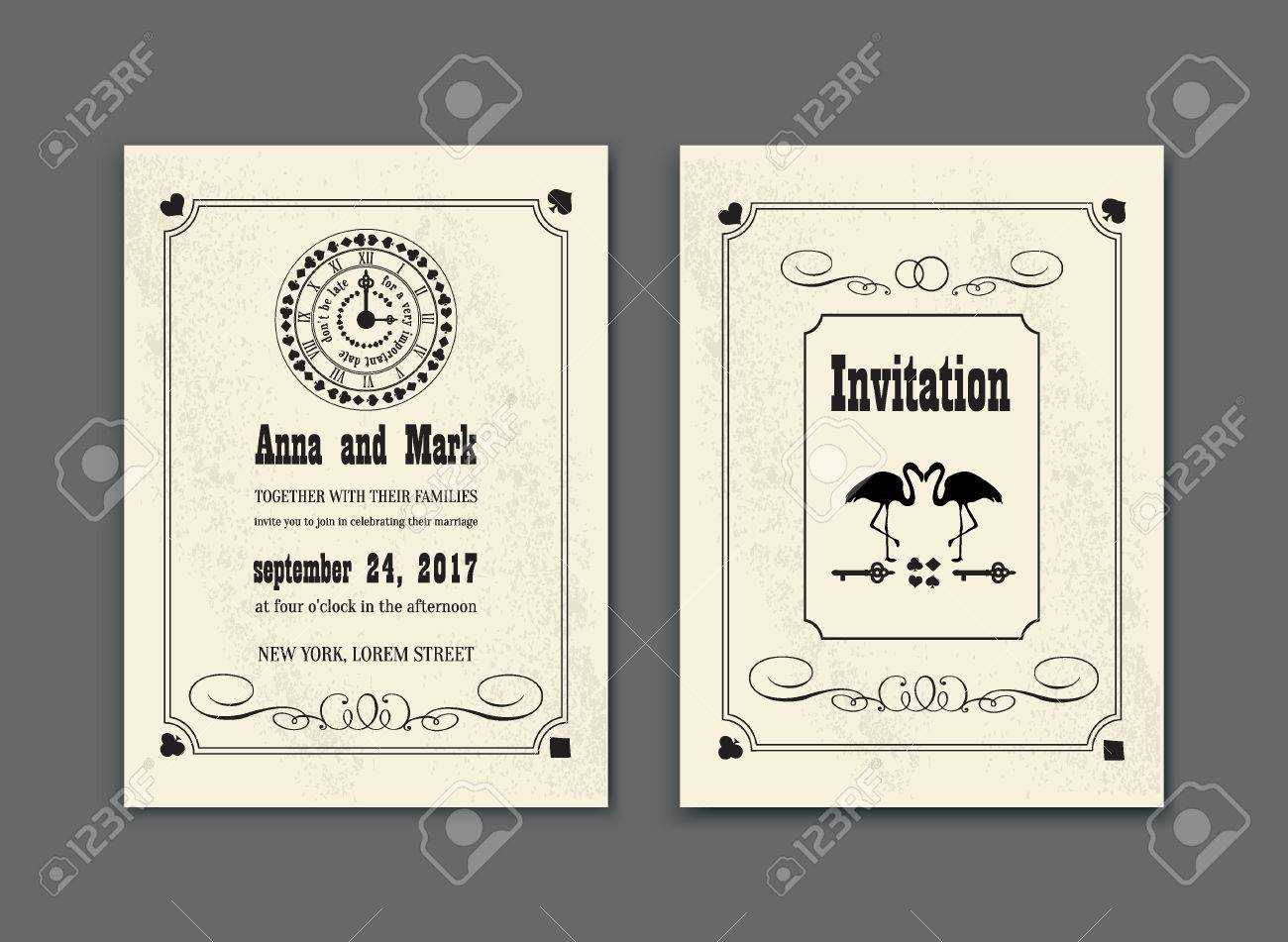 Wedding Party In Wonderland. Save The Date Invitation Alice In ...