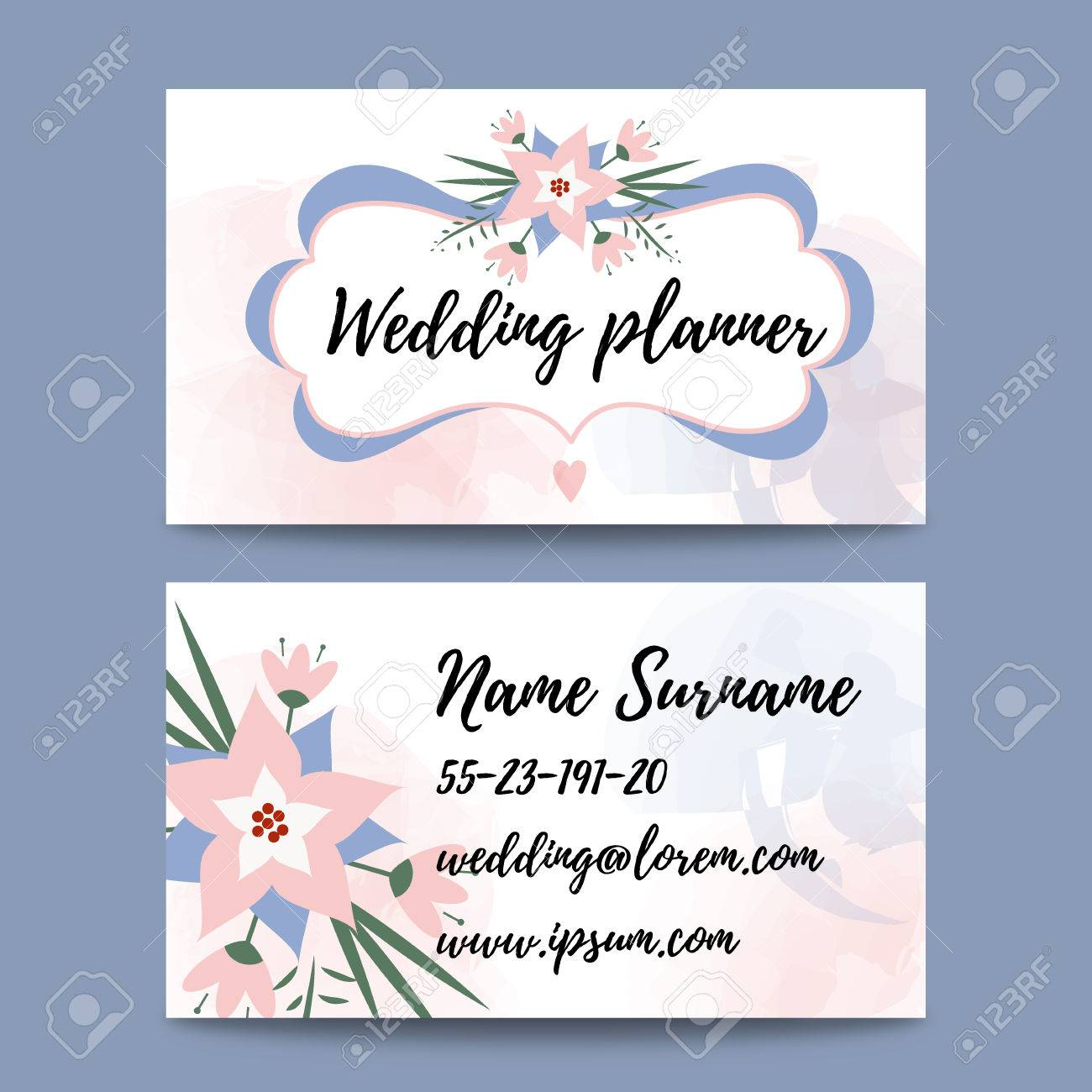 Vector pastel feminine business card template mockup with logo vector vector pastel feminine business card template mockup with logo flower suitable for wedding planners or florist owners wedding stationery business reheart Choice Image