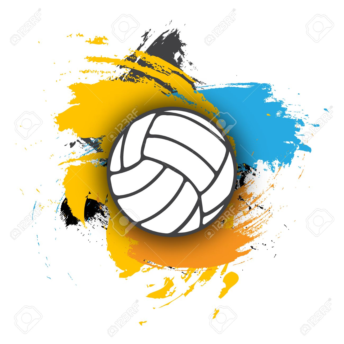 Vector Volleyball Logo On The Background Of Multi Colored Brushstrokes Royalty Free Cliparts Vectors And Stock Illustration Image 59694879