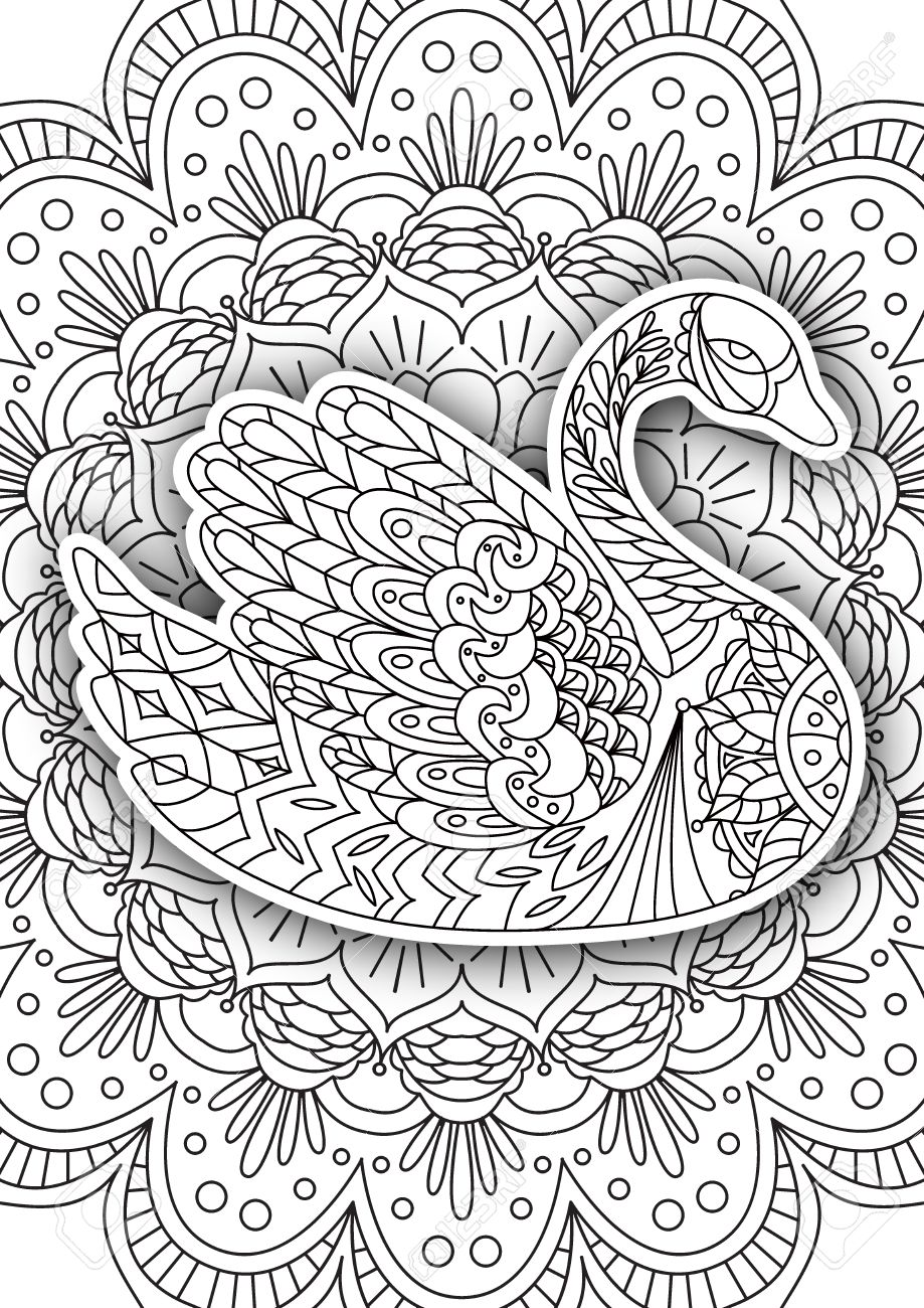 Printable Coloring Book Page For Adults - Swan Design, Activity ...