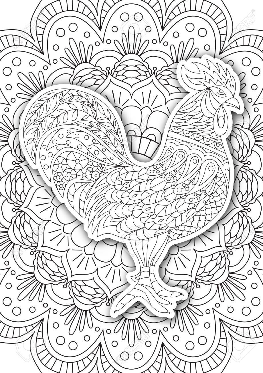 Printable Coloring Book Page For Adults - Rooster Design, Activity ...