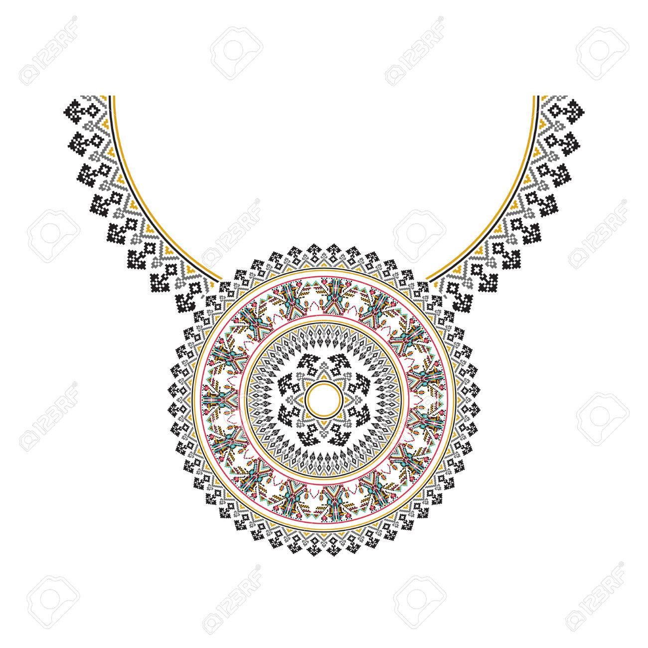 9ce8e90a793c Foto de archivo - Vector étnico bordado collar para las mujeres de moda.  modelo tribal del pixel para la impresión o diseño web. joyas