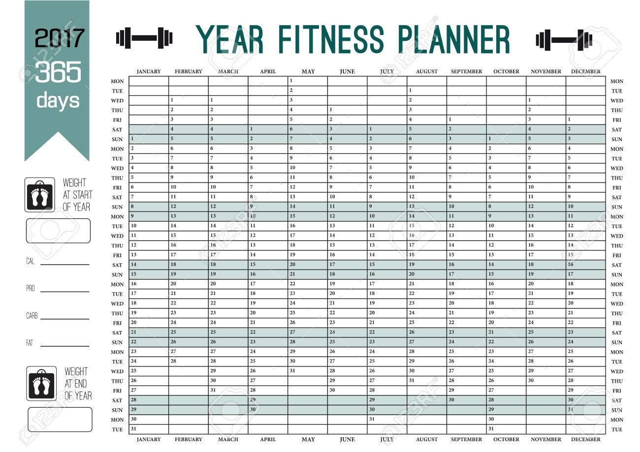 Bonito Plantilla De Calendario De Fitness Regalo - Colección De ...