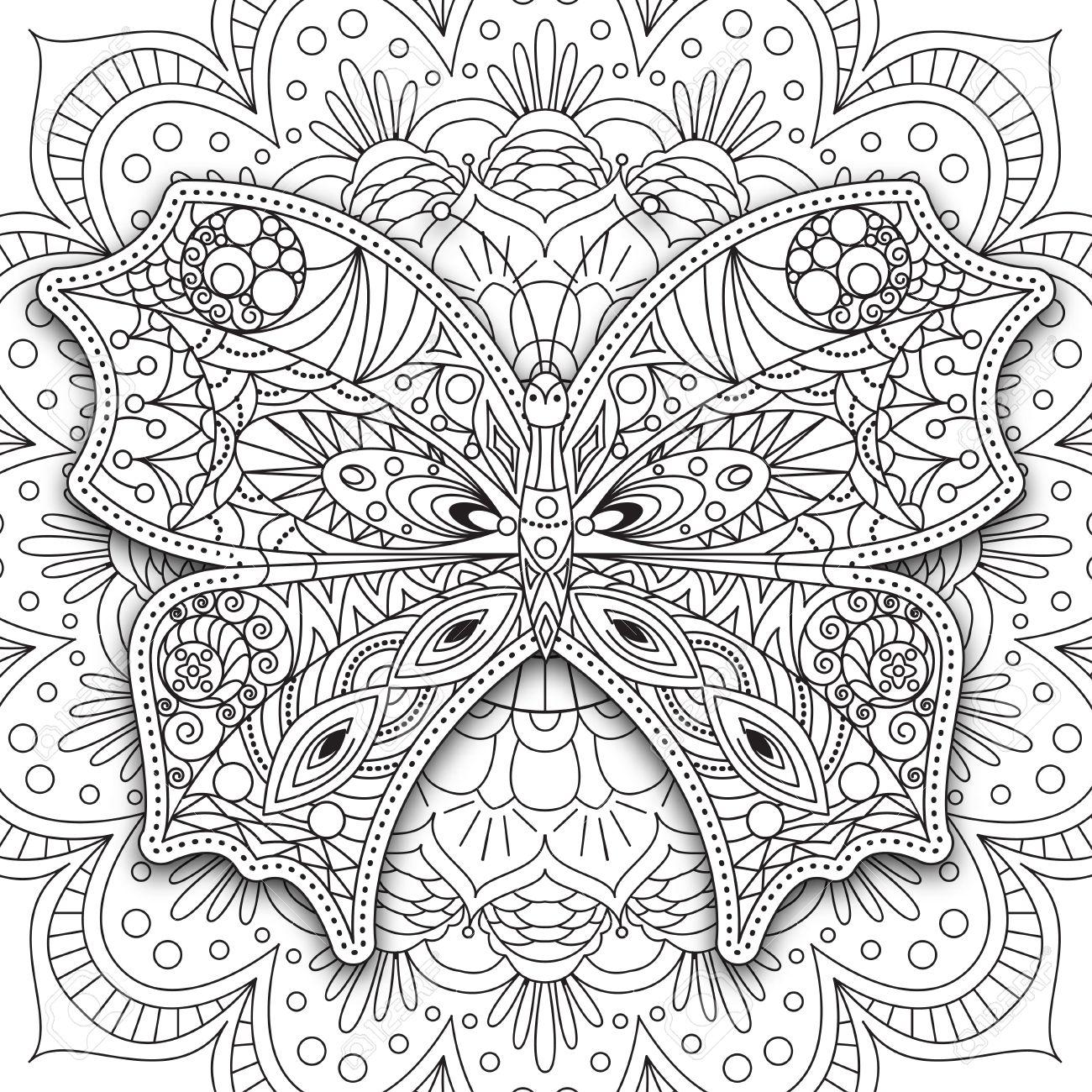 Mariposa. Dibujado A Mano Vector Para Imprimir étnica En El Estilo ...