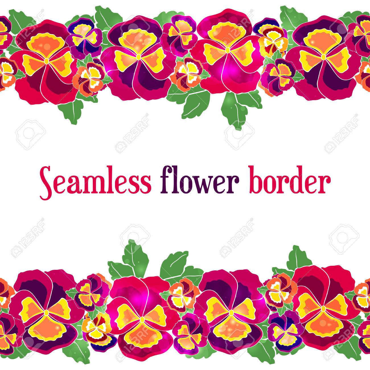 Vector Seamless Floral Border Design For Wedding Invitation