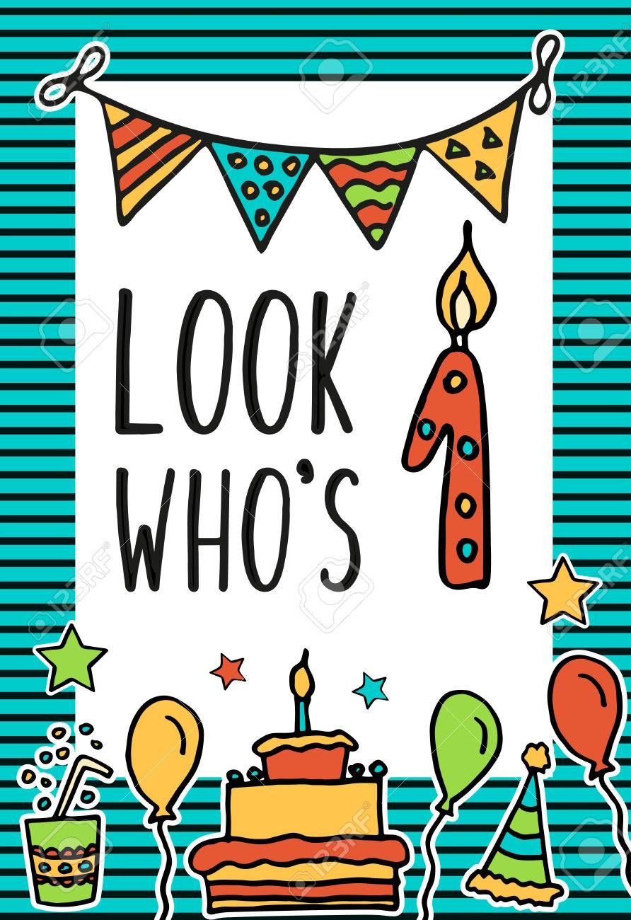 Cumpleaños De Los Niños Tarjeta Del Vector Con La Vela Colorida Numeral Globos Torta Sombrero Cóctel Para Diseñar Tarjetas De Navidad Y La
