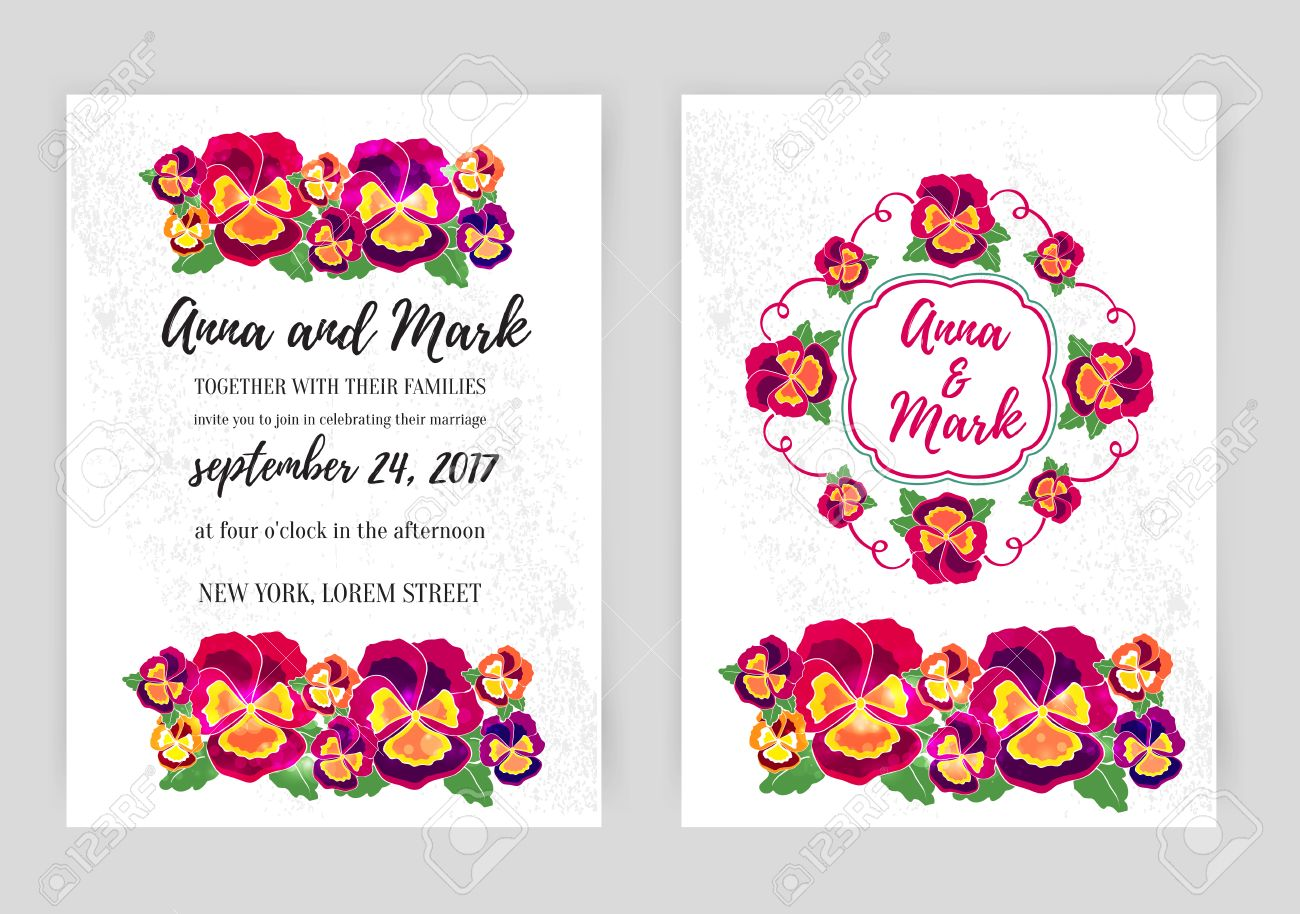 Vector set of floral wedding invitations design for wedding vector vector set of floral wedding invitations design for wedding invitation flower shop and beauty salons bright pansies on a white background stopboris Images