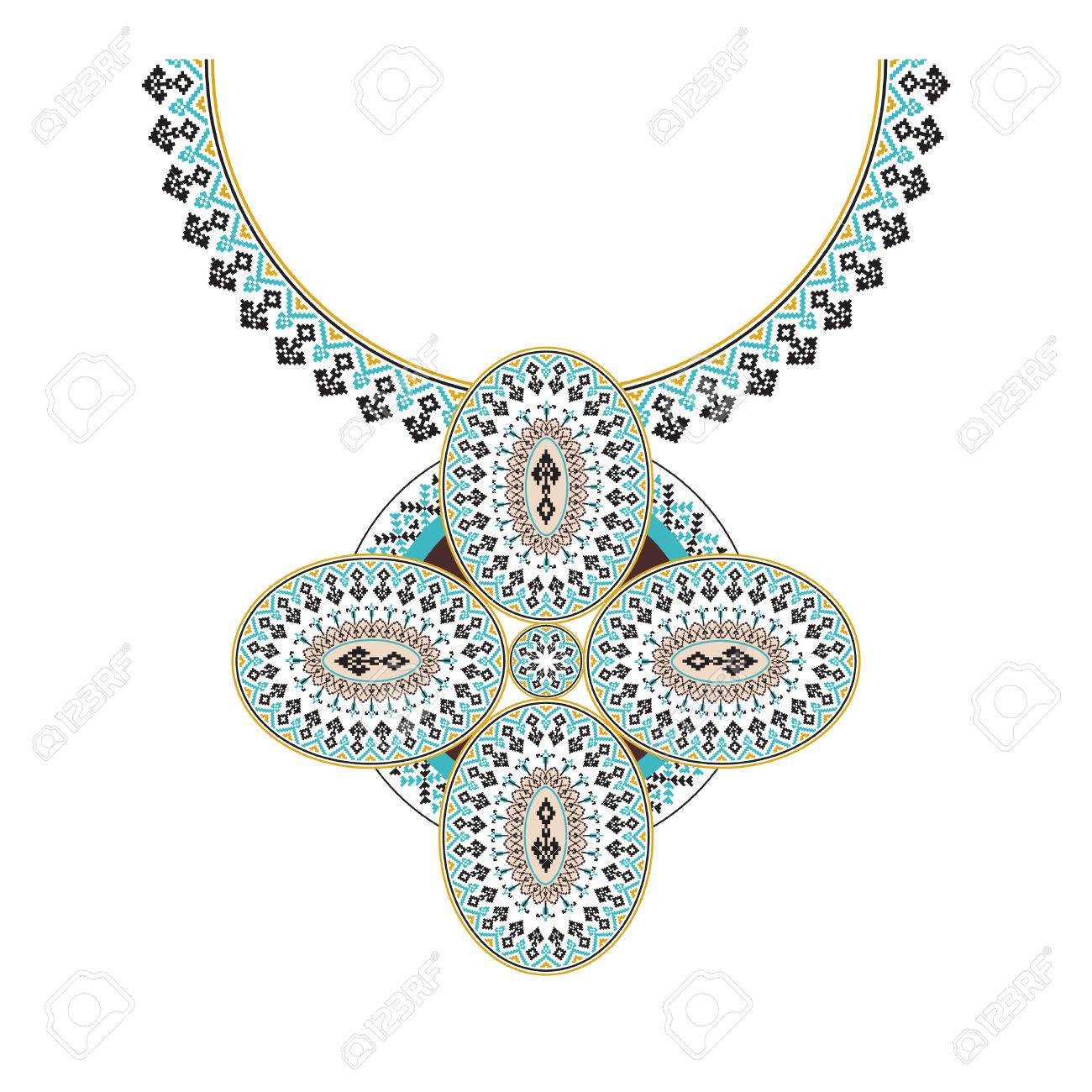 Vector Collar Azteca Bordado Para Mujeres De Moda. Patrón Tribal ...