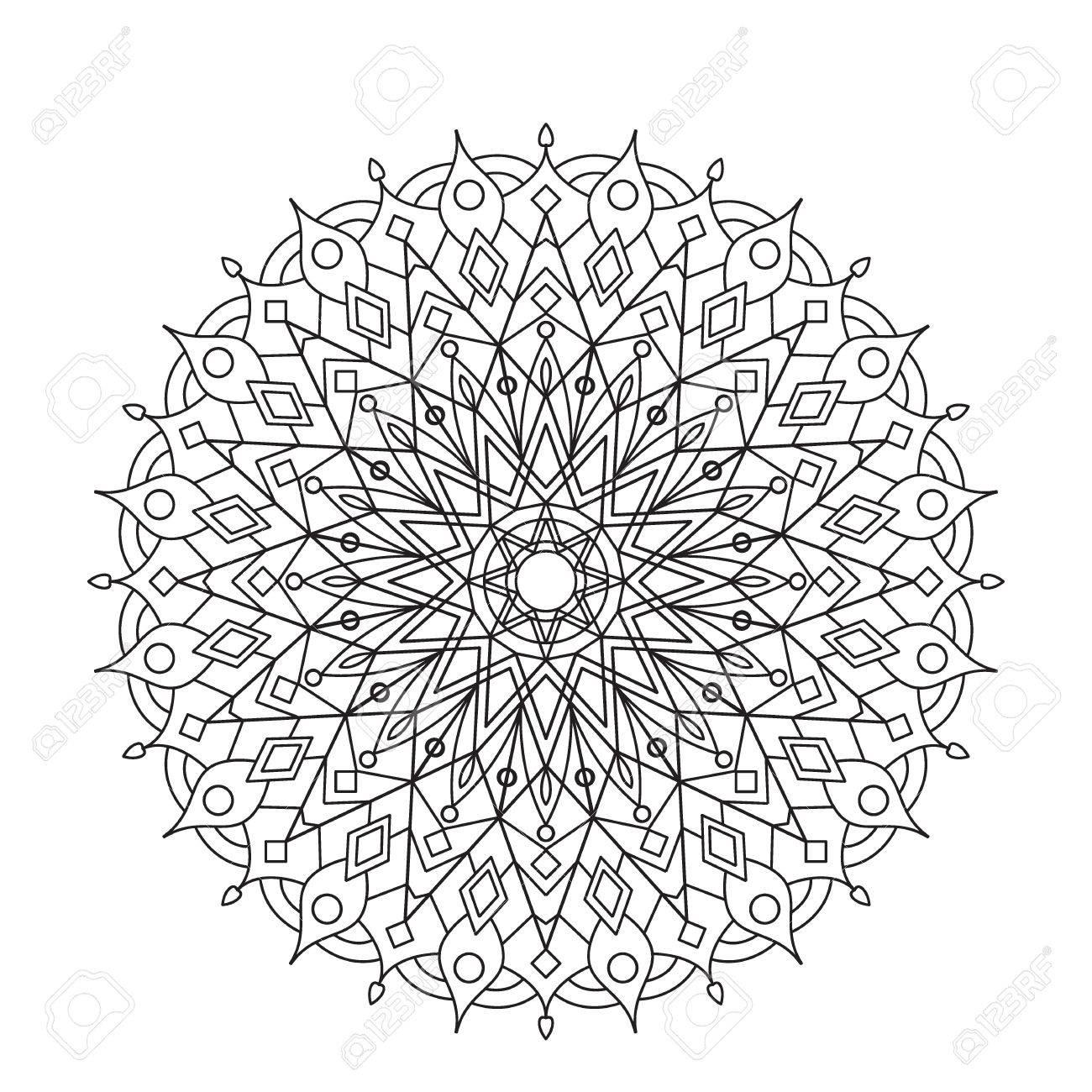 Mandala Para Colorear Libro. Ornamento Del Círculo Del Cordón ...