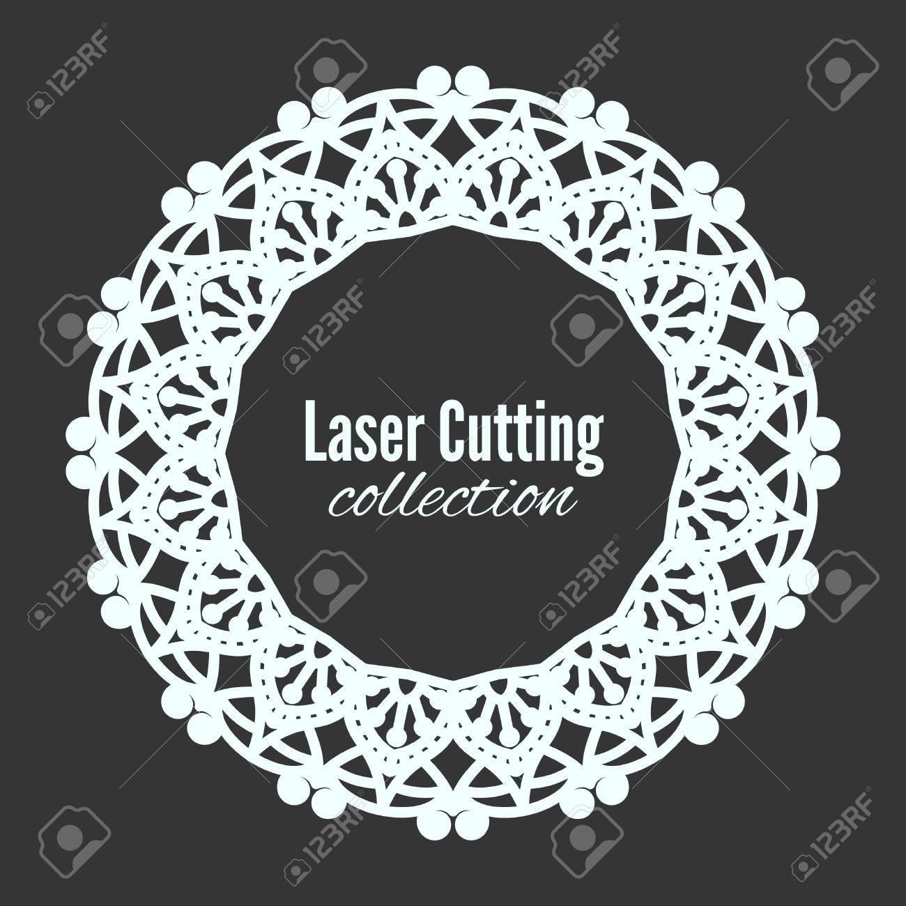 Vector Laser Flower Cut The Template Frame. Floral Mandala For ...