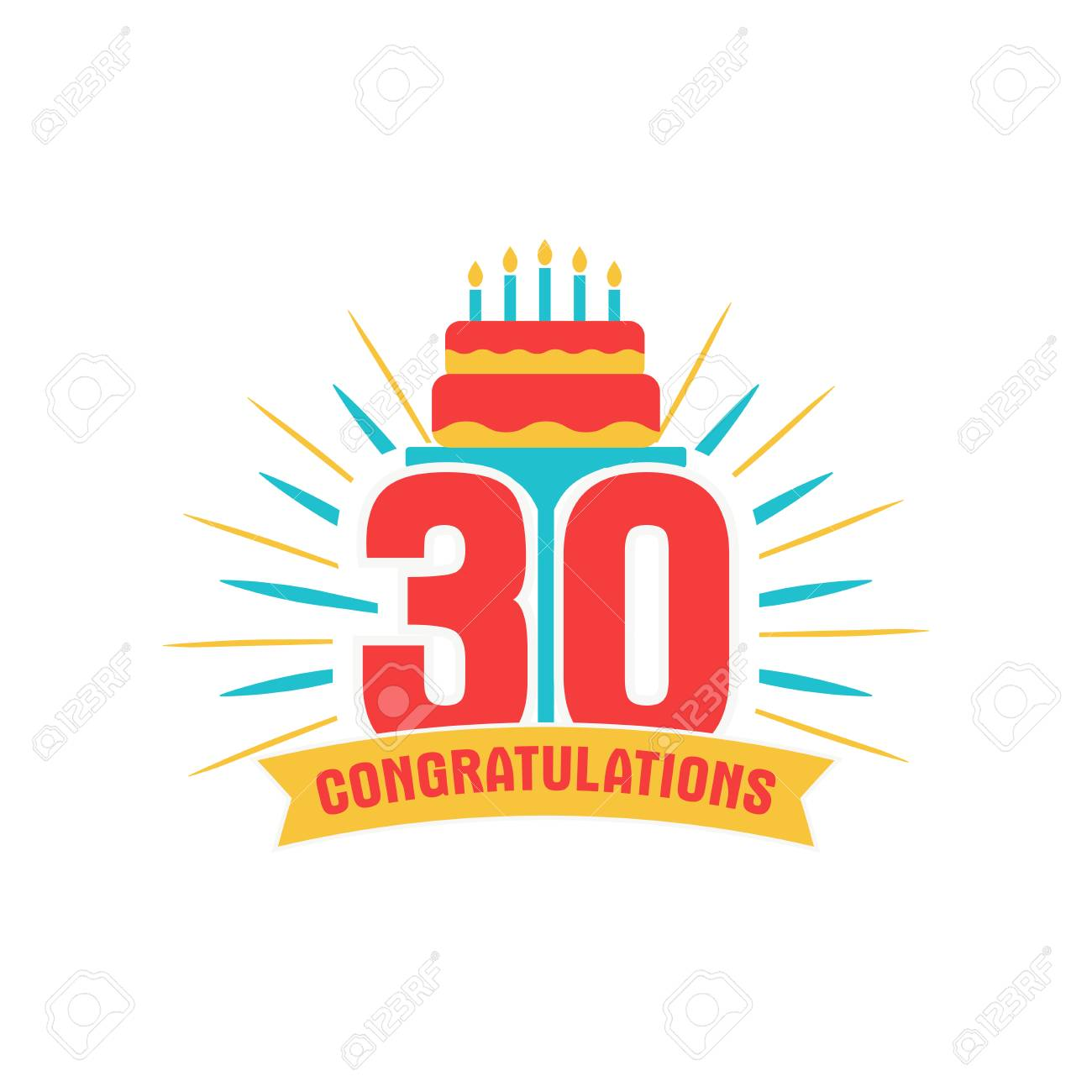 Anniversary Thirty Years Number 30th Years Festive Logo And