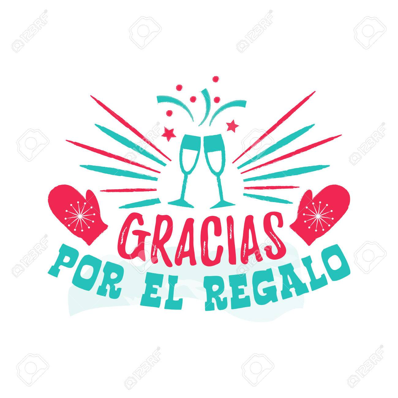 Thank You For The Gift Spanish Language Royalty Free Cliparts