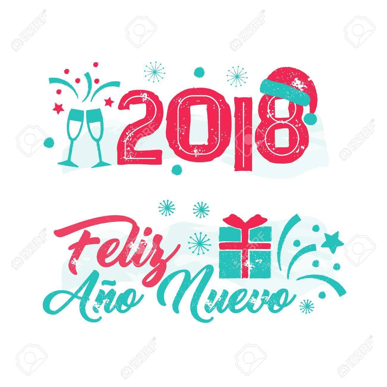Feliz Ano Nuevo - Happy New Year Spanish Language. Royalty Free ...