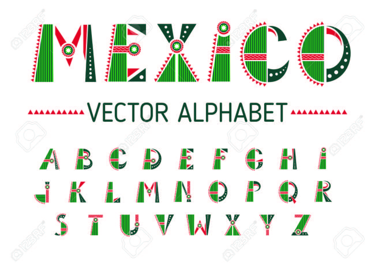 Mexico Alphabet Set National Flag Color Creative Letters From