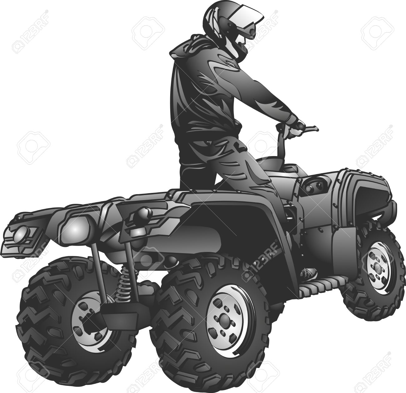 ATV off-road rider in helmet jumping in to the sunset Stock Vector - 18285002