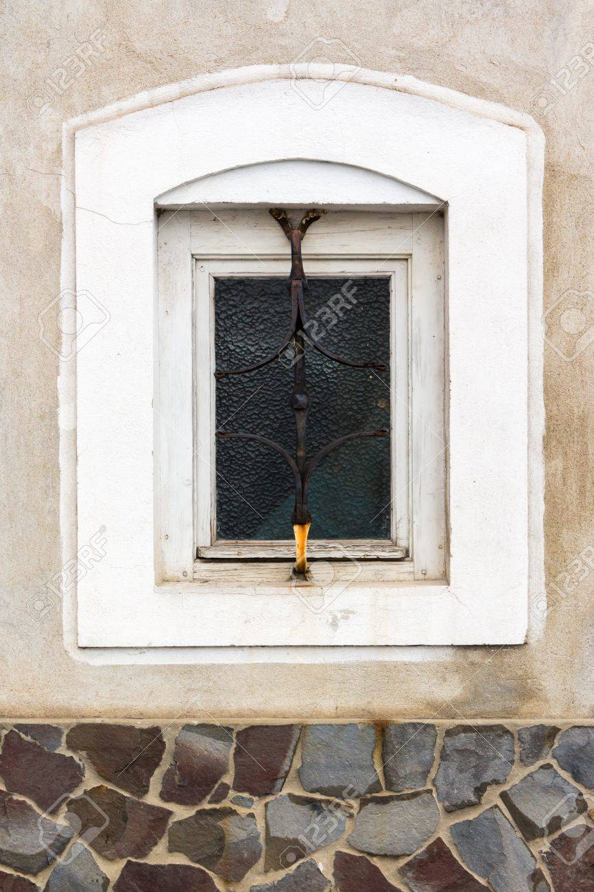 Old Window Frame On The Wall With Cracks Stock Photo, Picture And ...