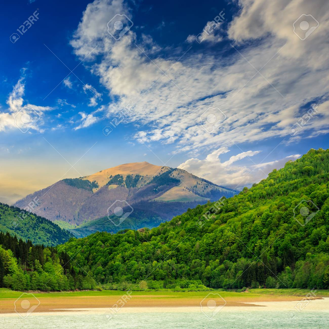 Stock Photo   View On Lake Shore Near The Forest On Mountain Background  Early In The Morning