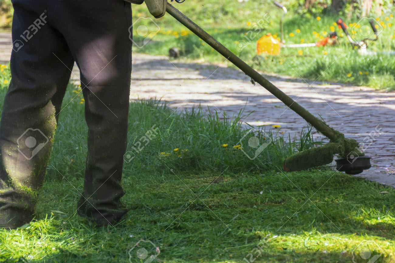 lawn mowing with brushcutter. springtime work in the park. pawed walkway. another tool lay in the grass in the distant blurred background. - 119829852