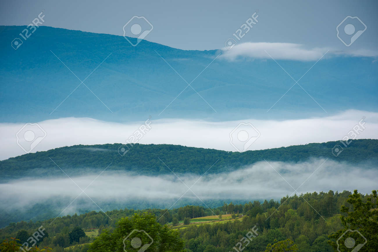 rural landscape in the morning. mist in the distant valley. trees and fields on the hill in morning light - 170169974
