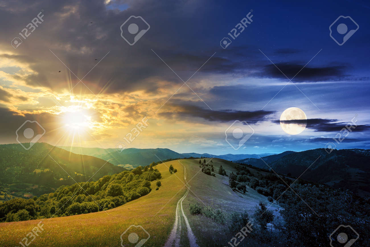 day and night time change concept above road through meadow in mountains. beautiful rural landscape of carpathians with sun and moon. wonderful summer weather with fluffy clouds on the sky - 170537480