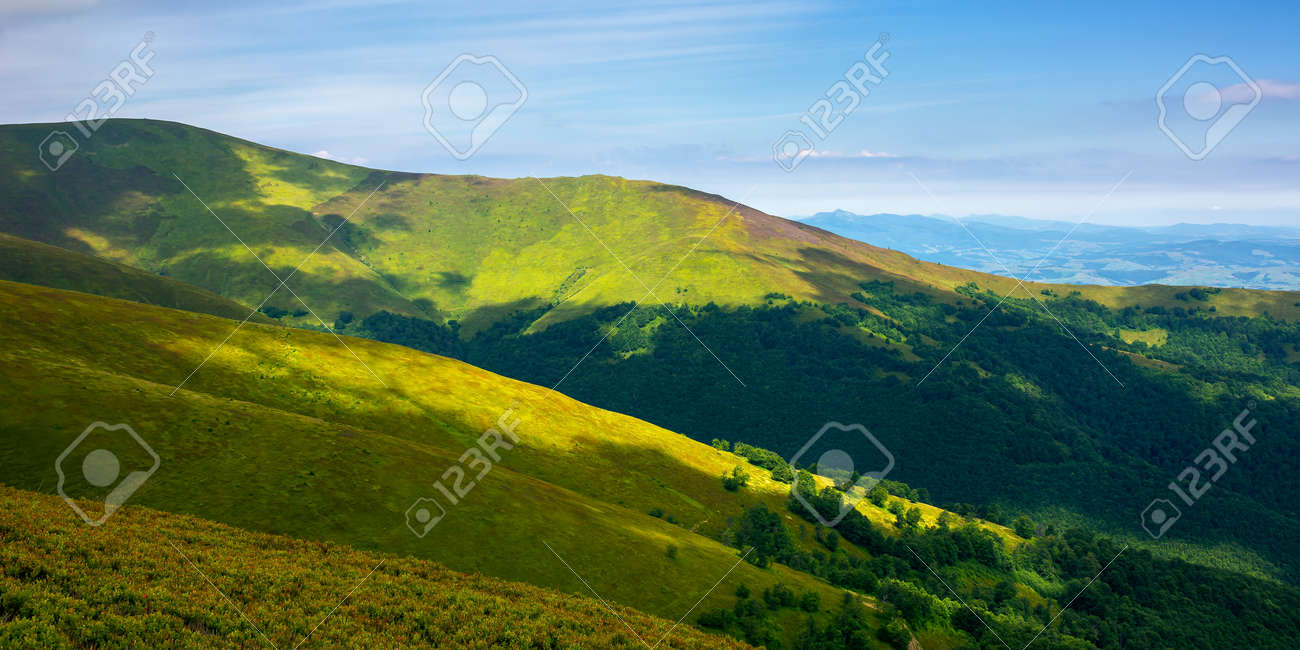 rolling hills an meadows of borzhava ridge. beautiful nature scenery with grassy slopes in dappled light. wonderful summer landscape of ukrainian carpathian mountains on a sunny day - 171252535