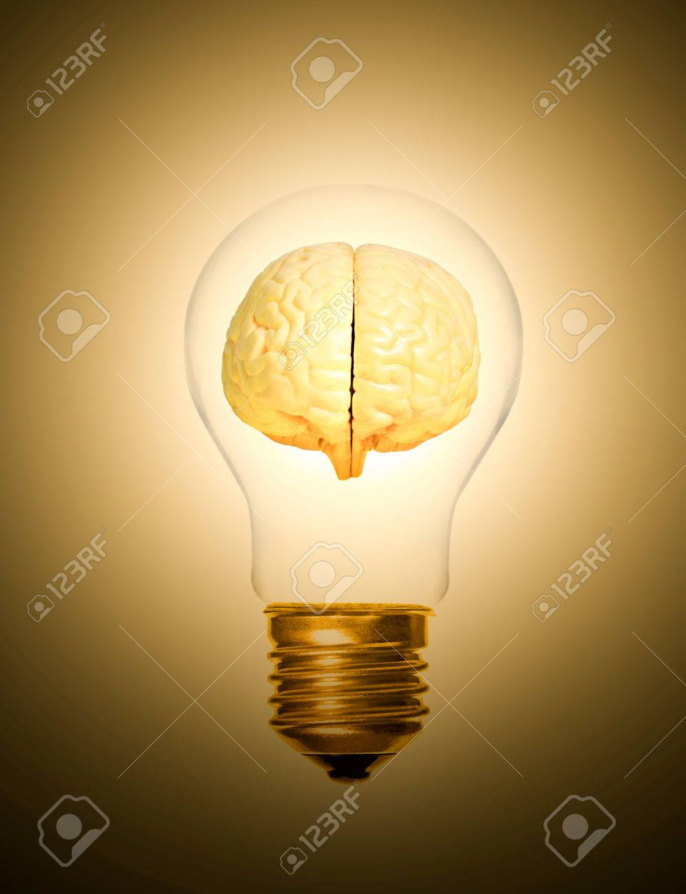 0f8f5e58aa2 concept of brain within a light bulb lit up moment as a light bulb Stock  Photo