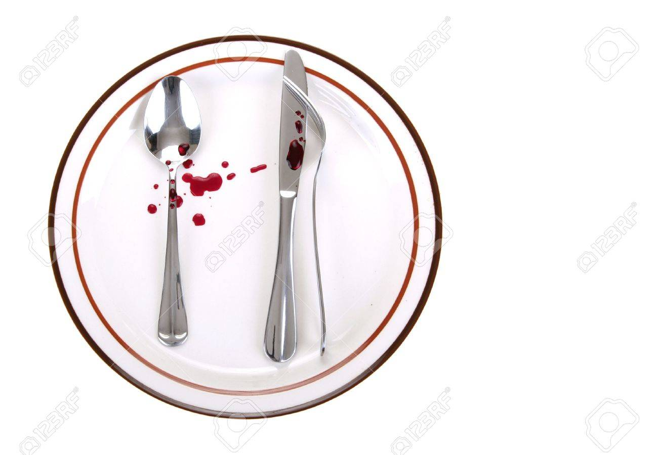 an odd position of spoon and knife and fork touch each other on a dinner plate  sc 1 st  123RF.com & An Odd Position Of Spoon And Knife And Fork Touch Each Other.. Stock ...
