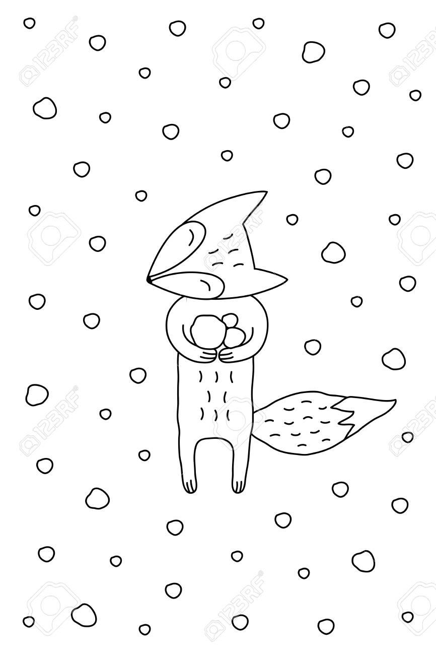 概要は雪を楽しむ甘いフォックスとクリスマス イラストを漫画します