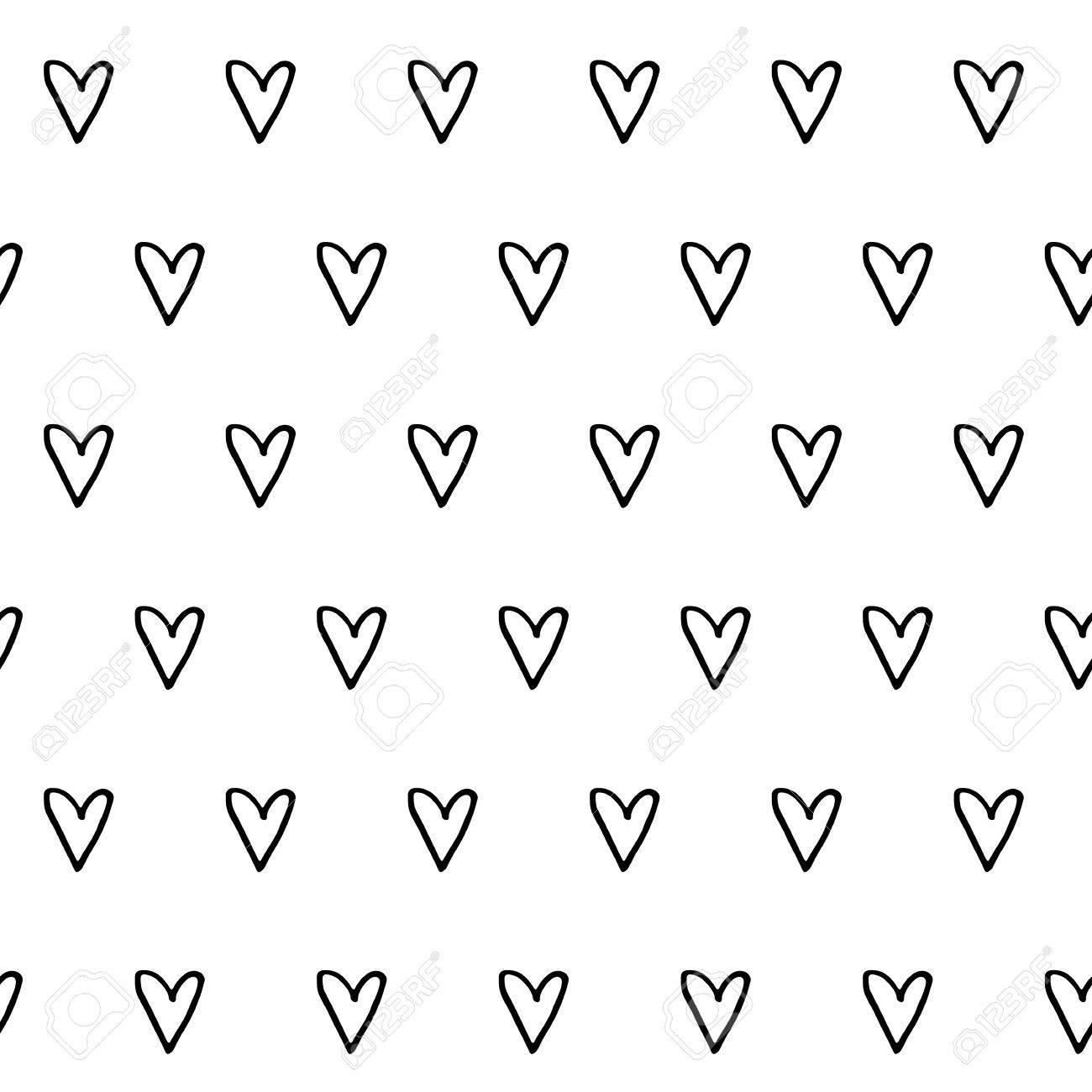 手で抽象的なかわいいパターンには 心が描かれています トレンディな