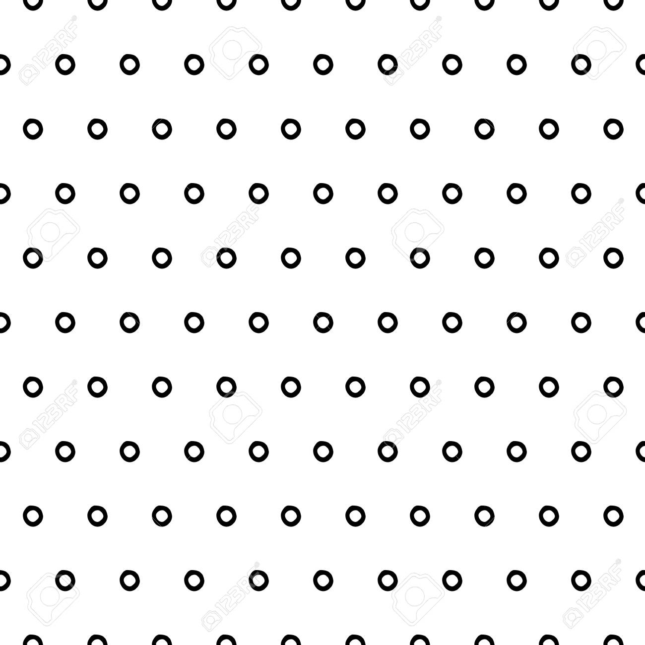 Abstract Cute Pattern With Hand Drawn Ink Polka Dots Trendy Stock