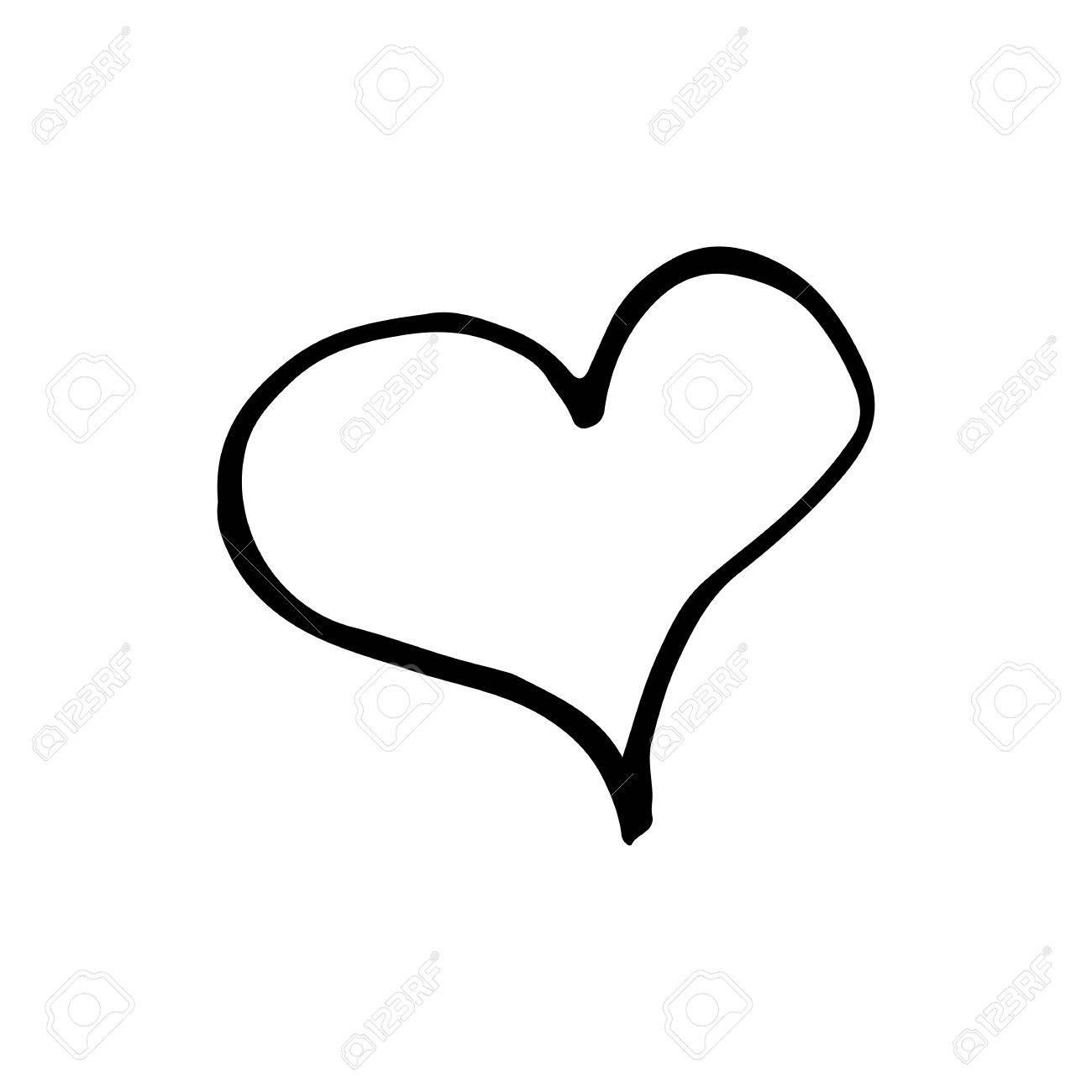 Corazón Dibujado A Mano Dibujos Animados Lineal Doodle De Corazón