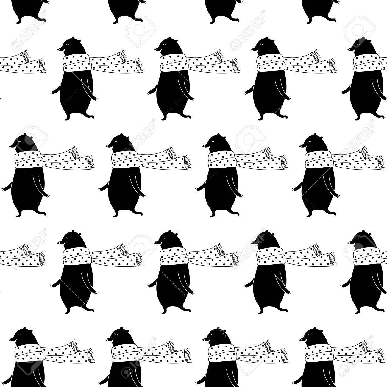 Patrón De Animales De Dibujos Animados Con Dulce Oso En La Bufanda ...