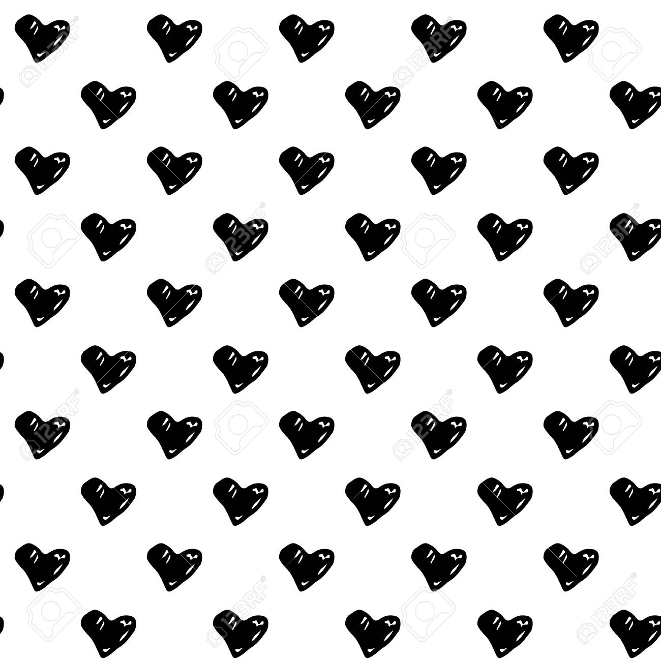 Abstract Seamless Pattern With Hand Drawn Hearts Cute Vector Black And White