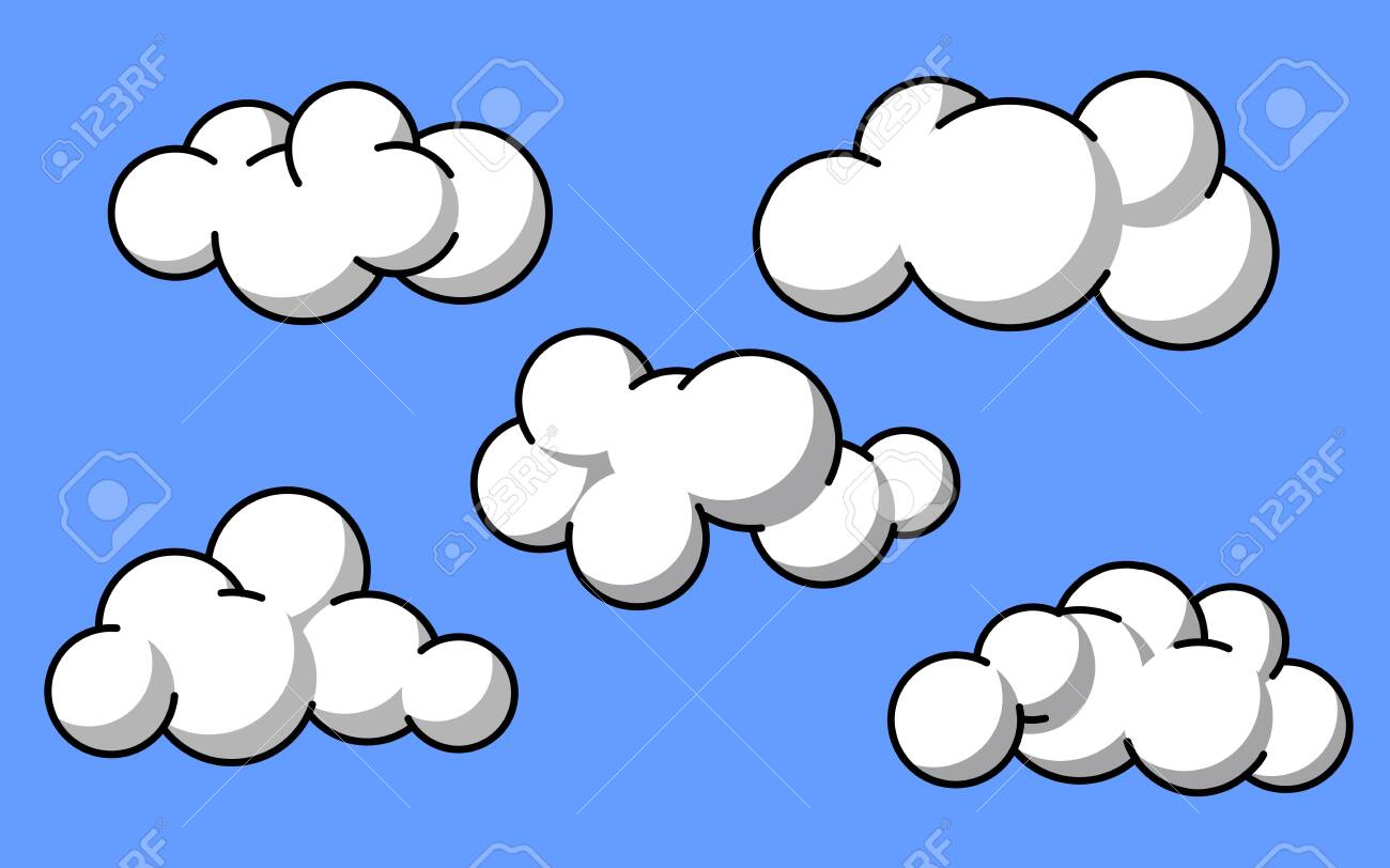 vector design of white clouds with outline style - 151668098