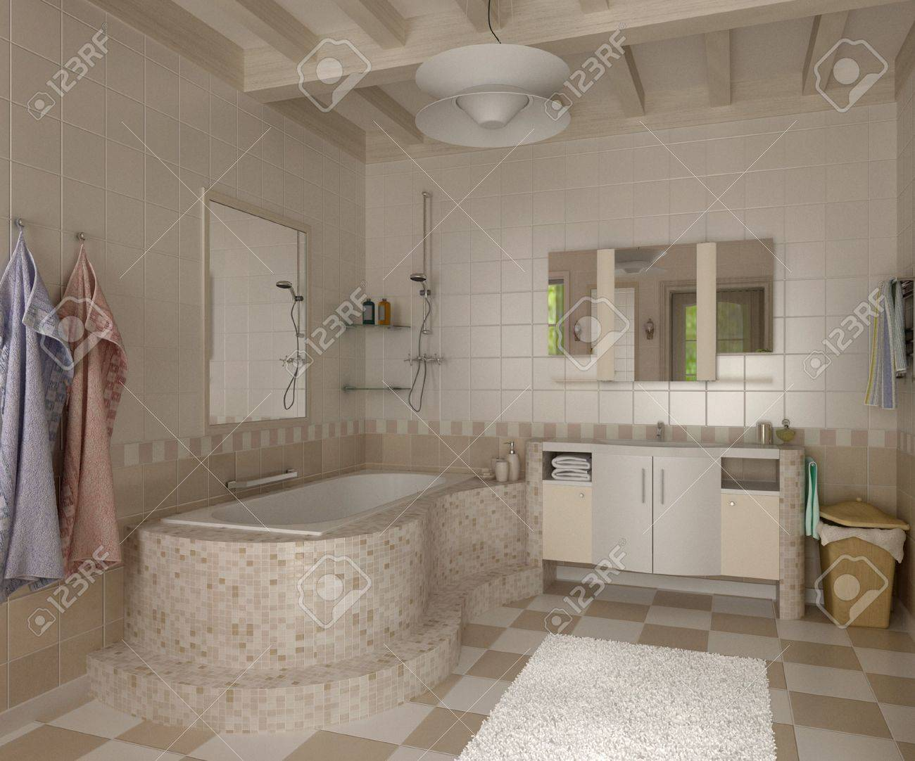 3d Bathroom Tiles 3d Bathroom With Toilet And Shower In The Yellow Tile Stock Photo