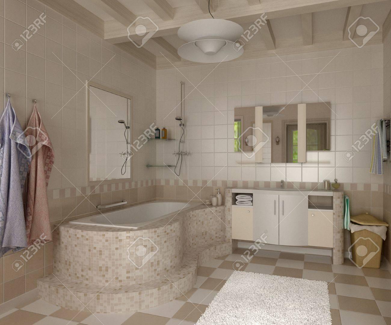 3D Salle De Bain Avec Toilettes Et Douche Dans La Mosaïque Jaune ...
