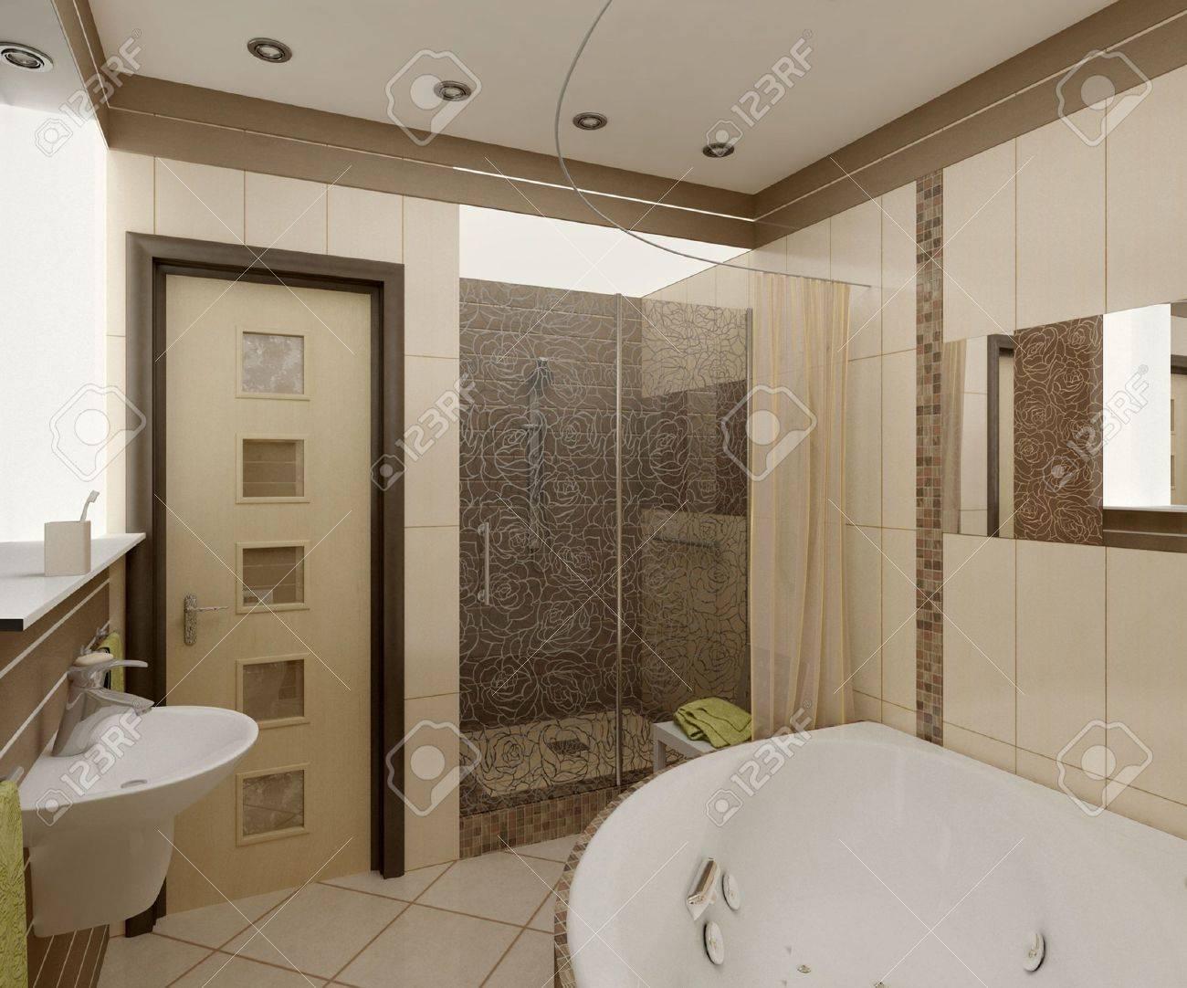 3D salle de bain avec toilettes et douche dans la mosaïque jaune