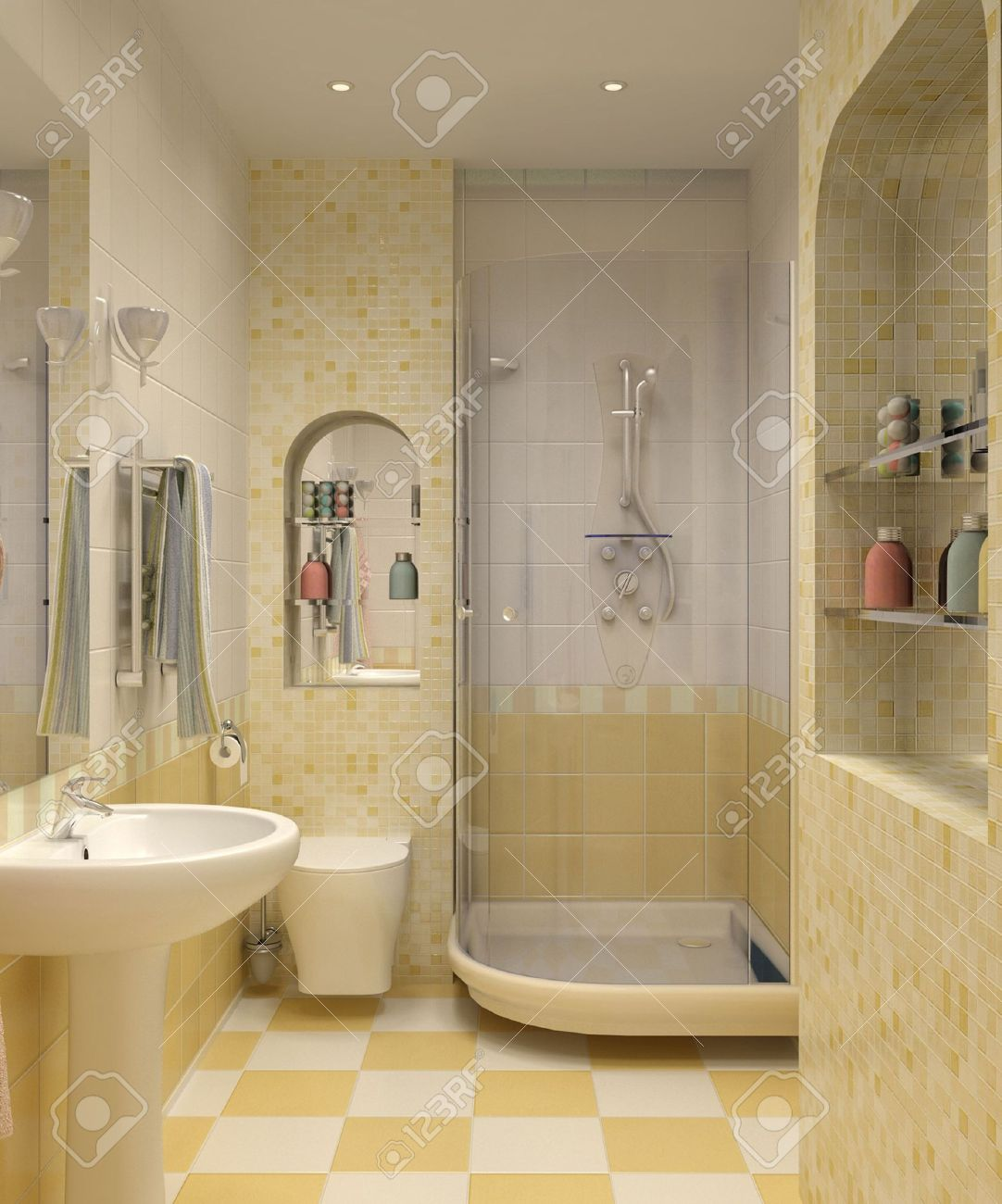 3D Bathroom With Toilet And Shower In The Yellow Tile Stock Photo   7124577