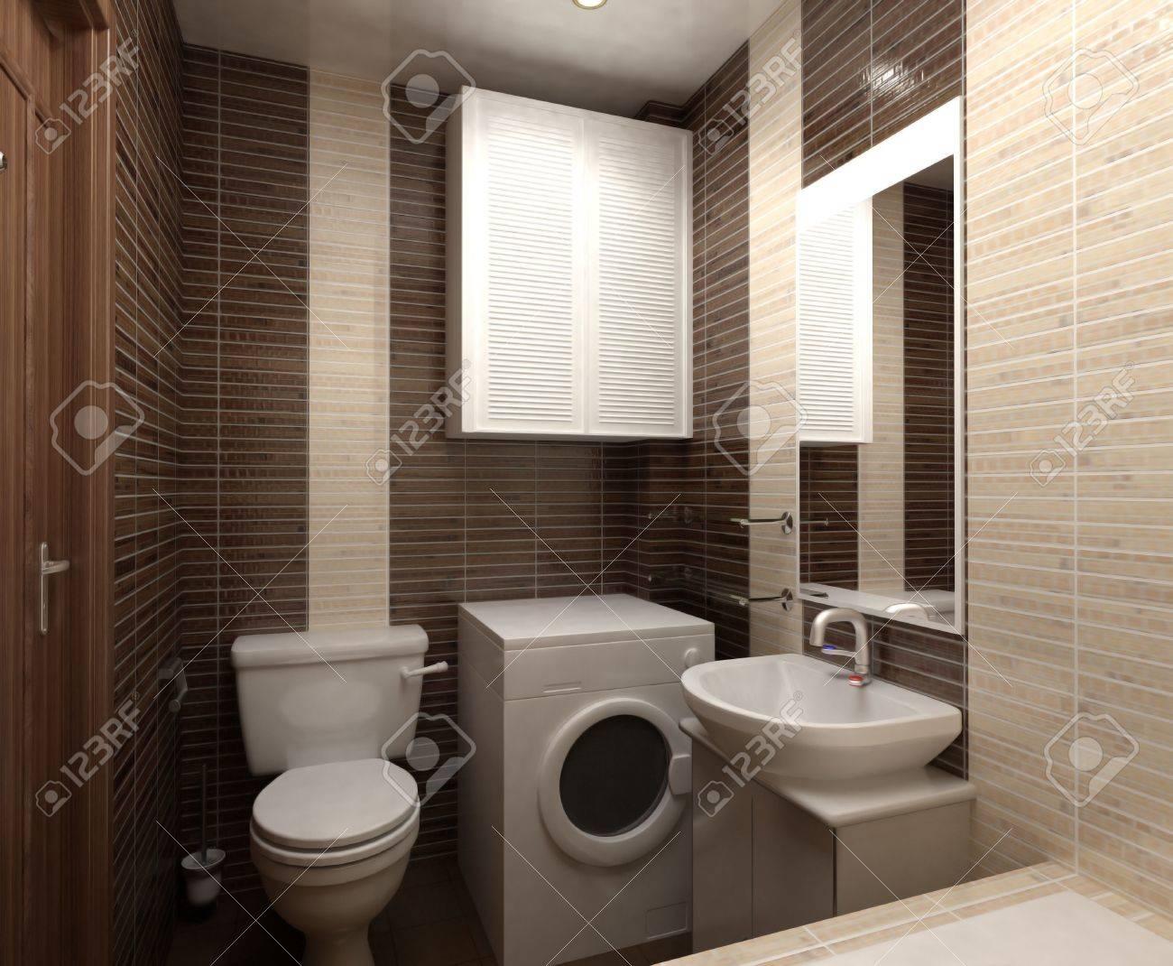 Salle De Bain Avec Toilettes Et Douche Dans La Mosa Que Jaune Banque