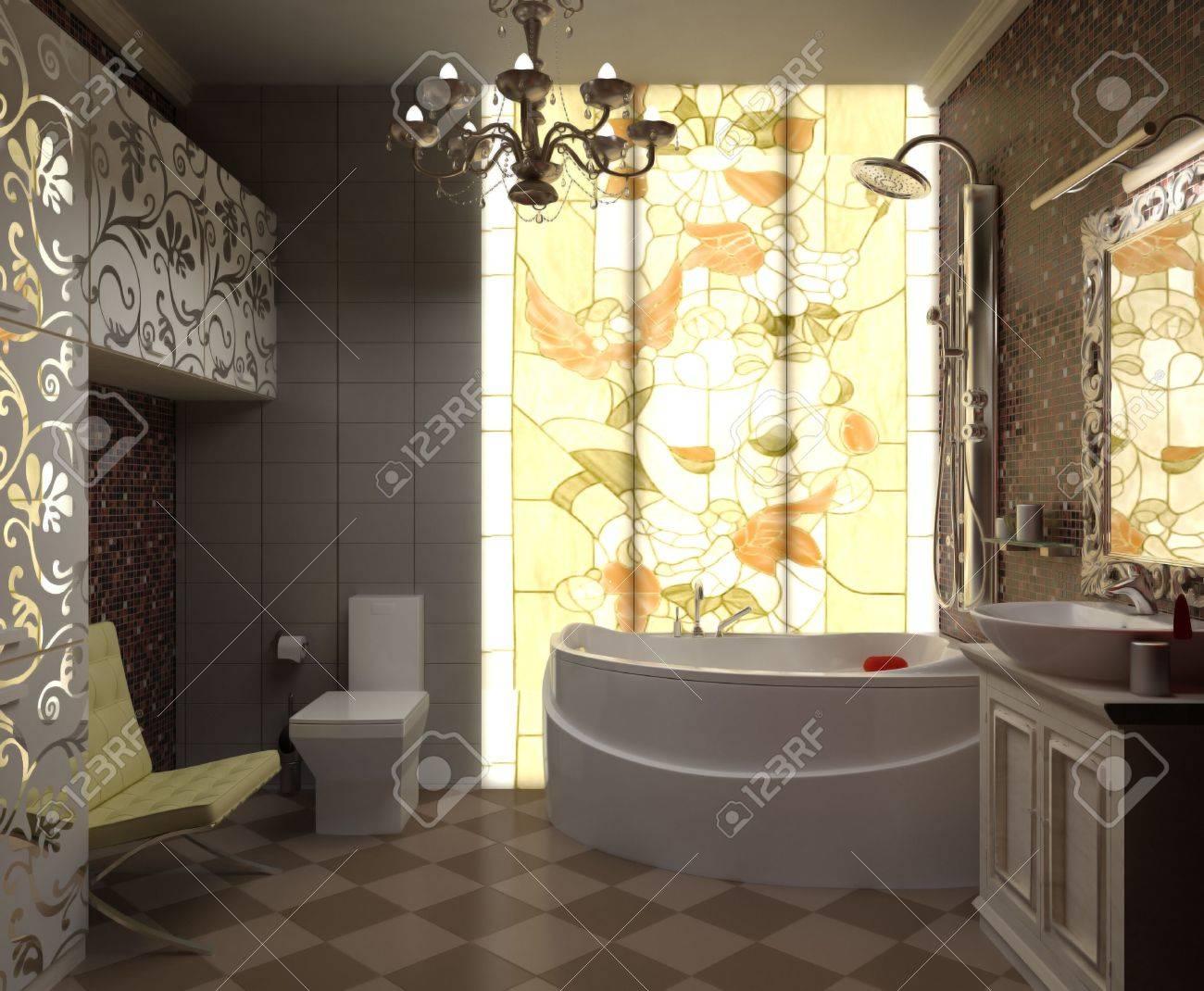archivio fotografico illustrazione interni bellissimo bagno con wc e doccia