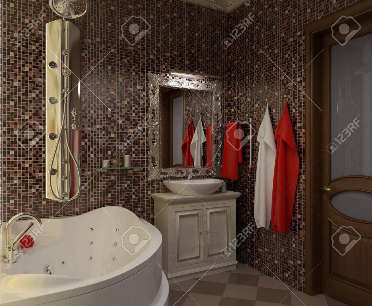 Illustration Avec Douche Et Toilettes Les Salles De Bains