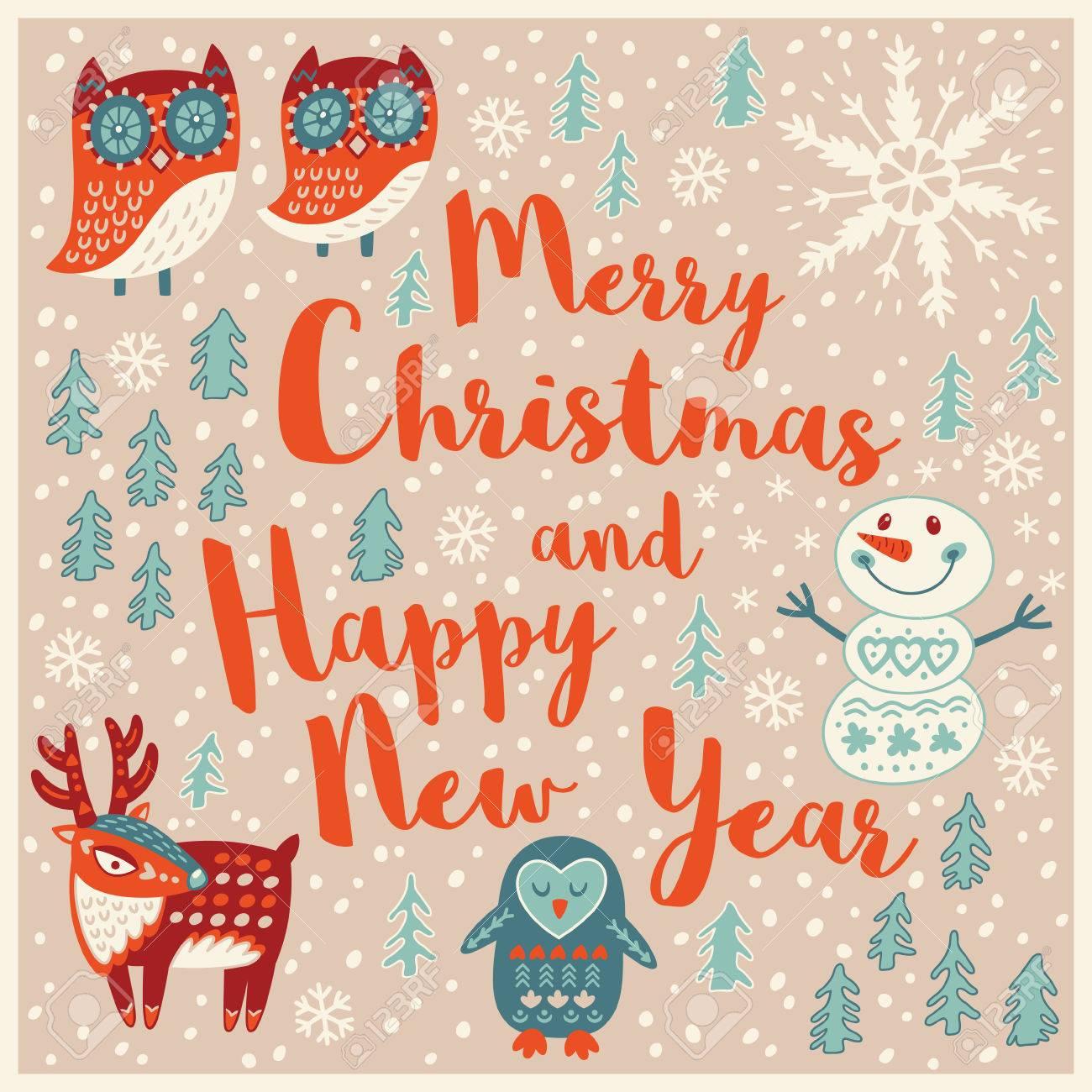 Frohe Weihnachten Und Happy New Year. Feiertagswünsche Hintergrund ...